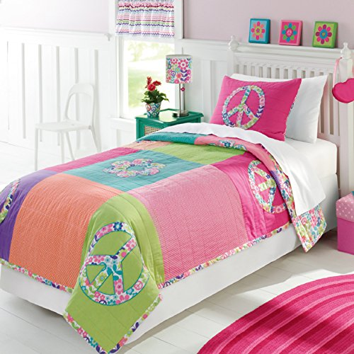 Brandream Girls Comforter Sets Colorful Patchwork Quilt Set Peace Sign Bedding Sets Full Size 100% Cotton