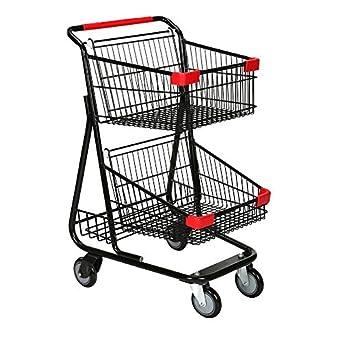 Amazon.com: Carro de la compra de alambre doble en metal ...