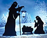 Outdoor Solar Christmas Decorations, Nativity Shadow with LED Lighted Lantern, Garden Stakes, Set of 3