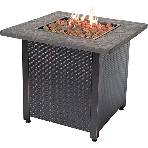 Round Rock Fire Pit - Endless Summer GAD1401M Decorative Push Button Outdoor LP Gas Fire Pit + Rocks, Fireplace, Brown