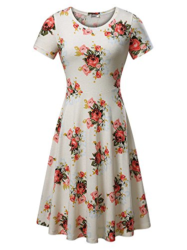 HUHOT Women Short Sleeve Round Neck Summer Casual Flared Midi Dress (S, Beige Peony)