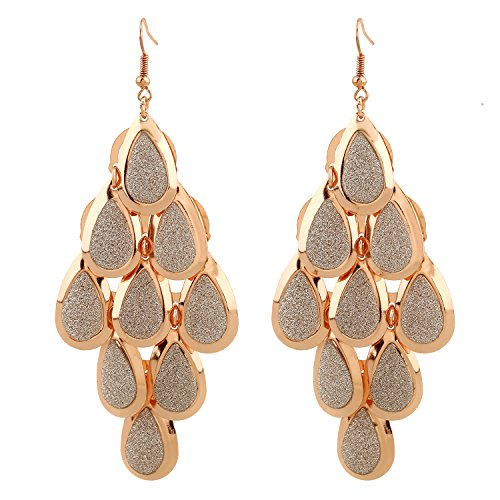 D EXCEED Women's Metal Cutout Diamond Chandelier Tiered Dangle Earrings, 3.15