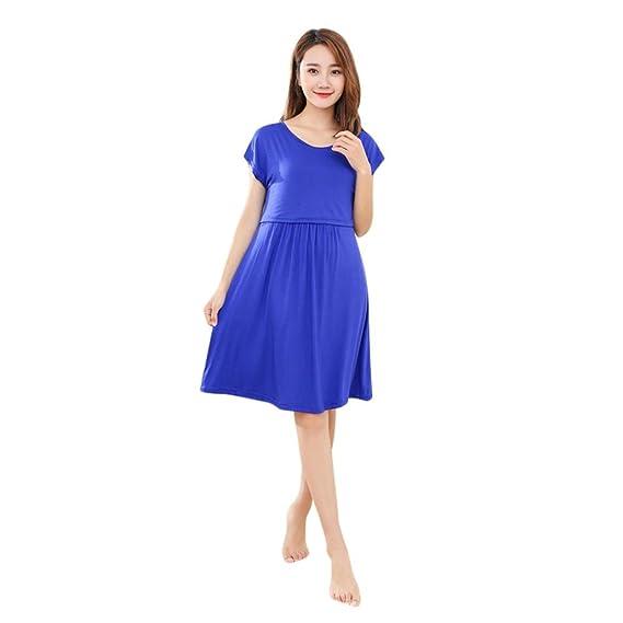 Ropa Embarazadas Verano Premama Lactancia AIMEE7 Vestido Largo Maternidad De Manga Corta (L, Azul