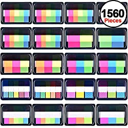 Siquk 1560 Pieces Pop-up Index Tabs Page Markers Sticky Neon Page Flags Tabs Polka Dots & Stripes Index Flag Tabs For Marking, 20 Sets
