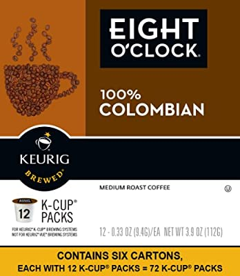 Eight O'clock Coffee 100% Colombian Keurig Single-Serve K-Cup Pods, Medium Roast Coffee, 72 count