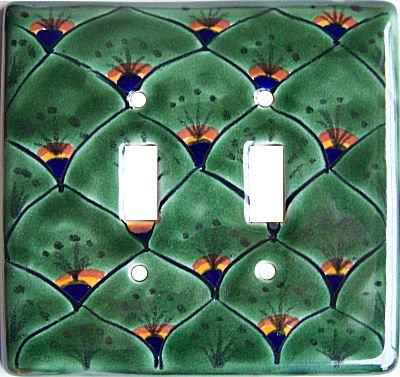 (Fine Crafts Imports Peacock Talavera Ceramic Double Switch Plate)