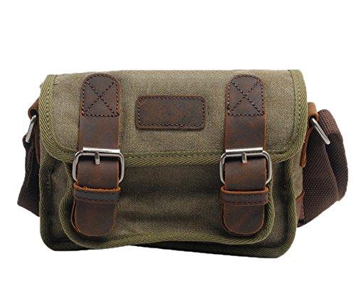 Genda 2Archer hombres Canves Bolsa de Hombro, Bolso del Mensajero (22cm * 10cm * 15cm) (gris) verde oscuro