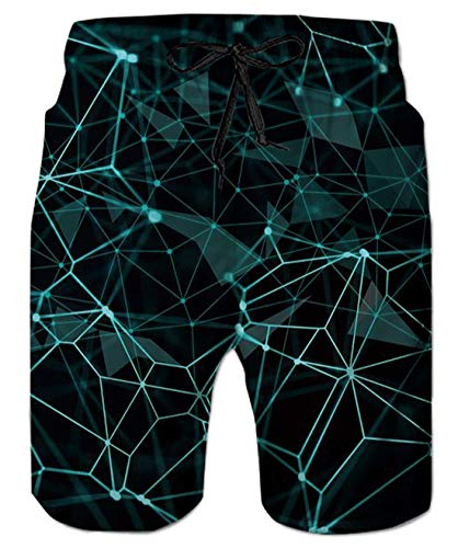 uideazone Summer Shorts for Men 3D Diamond Print Swim Trunks Quick Dry Beach Vacation Holiday Swimwear Bathing Suits
