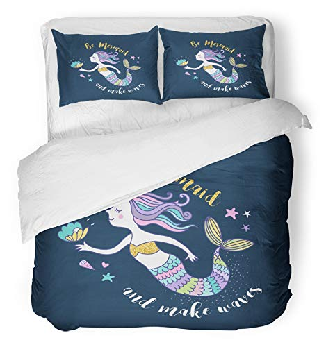 Emvency 3 Piece Duvet Cover Set Breathable Brushed Microfiber Fabric Blue Dolphin Under The Sea Little Mermaid Fishes Animals and Starfish Collection Bedding Set with 2 Pillow Covers Twin Size