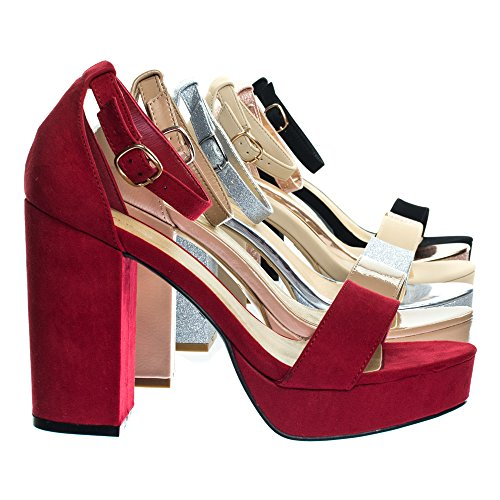 Bamboo Block Heel Platofrm Open Toe Dress Sandal W Ankle Strap