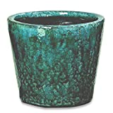 Whole House Worlds The Beach Chic Cone Cache Pot Planter, Terracotta, Turquoise Blue, Crackle Glaze, Distressed, Worn Patches, Shabby Style, 7 1/2 Diameter x 6 1/4 Inches Tall