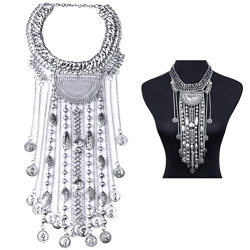 - SUMAJU Coin Statement Necklace, Beads Fringe Statement Necklace Silver Tone Bohemian Ethnic Tribal Boho