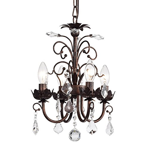 Edvivi 4-Light Antique Copper Chandelier with Crystals | Glam Lighting