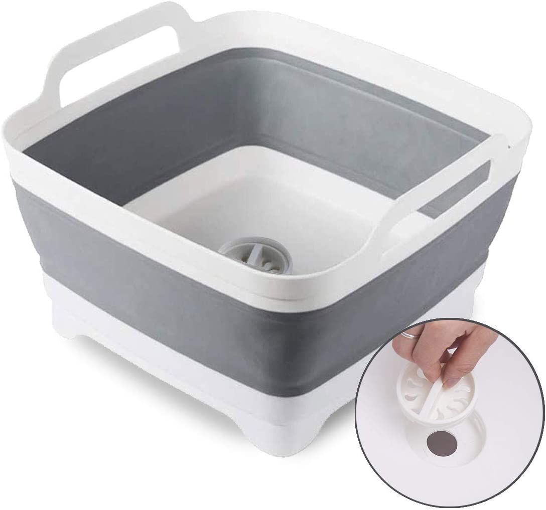 Yarbee 9.1L (2.4Gallon) Collapsible Dish Tub Dishpan With Drain Plug and Carry Handles, Portable and Versatile Dish Basin - Great for Washing Dishes, Camping or RV Sink