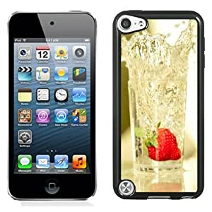 NEW Unique Custom Designed iPod Touch 5 Phone Case With Strawberry Falling In Glass Of Water_Black Phone Case