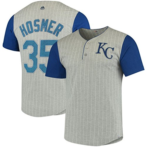 (VF Kansas City Royals MLB Mens Majestic Eric Hosmer Life Or Death Pinstripe Henley Player Shirt Gray Size 4XT)