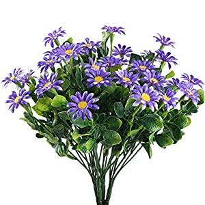 Nahuaa 4PCS Artificial Fake Greenery Plants Faux Shrub Eucalyptus Branches with Purple Daisy Flower Plastic Bushes Indoor Outdoor Table Centerpieces Arrangements Home Kitchen Office Spring Decorations 111