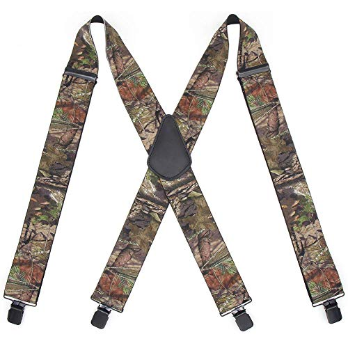 Camo Suspenders for Men Heavy Duty Work Suspenders X Back Camouflage Mens Pant Suspenders Braces with Strong Clips 2' Wide