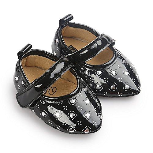 Estamico bebé niñas de punta de punta plana de piel sintética Mary Jane Prewalker zapatos blanco blanco Talla:0-6 meses negro