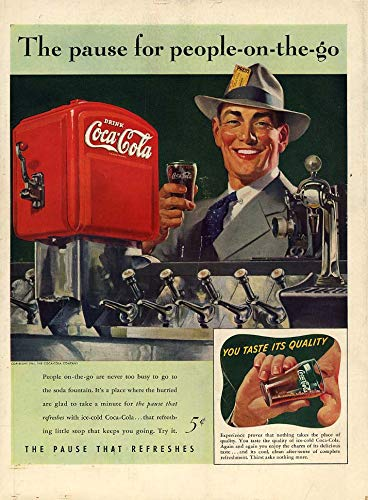 The pause for people-on-the-go Coca-Cola soda fountain ad 1941 L