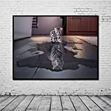BFY Unframed Modern Abstract Oil Painting Cat Tiger Huge Wall Decor Art On Canvas