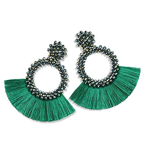 Statement Tassel Bead Earrings for Women, Drop Dangle Round Beaded Hoop Fringe Bohemian Earrings Women Girl Novelty Fashion Summer Accessories - E1 Green