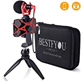 Smartphone Camera Video Microphone with Mini Tripod, Videomicro and Shotgun Microphone for iPhone 6, 6S, 7, 8, X, XR, XS Max Samsung Google - Perfect Vlog, YouTube, Asmr Mic -Perfect Video Kit