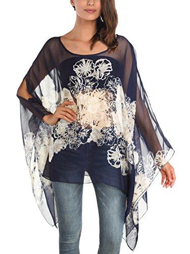 Femme DJT Shirt Blouse Manches T Tops blanc Imprime Tulle Bleu Souris Chauve FASHION HwTwrxq5