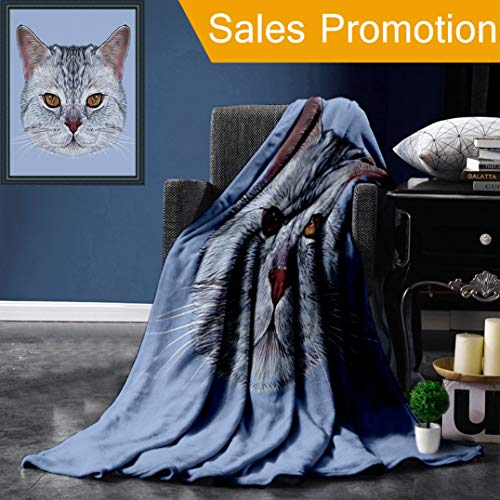 "Unique Custom Flannel Blankets Cat Scottish Straight Kitty Portrait Pet Lovely Companion Hipster Animal Graphic Light Grey Baby Super Soft Blanketry for Bed Couch, Twin Size 60"" x 70"" (Kitty Throw Heated Cat)"