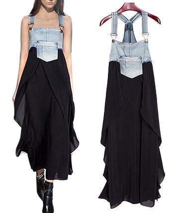 b3f7b20621 BarRan Summer Women s Sleeveless Straps Dress Casual Fashion Long Denim  Dress (Blue and Black