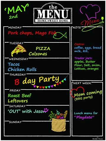 Magnetic Refrigerator Chalkboard Dry Erase Weekly Menu Meal Planner Organizer Note Area for Shopping List Fitness Diabetic Meal Prep Planning One Calendar Week 12