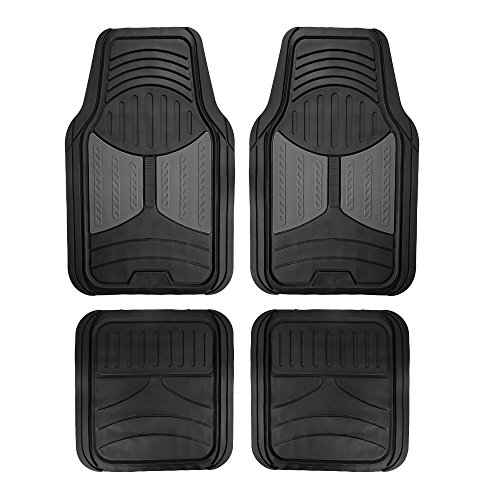 2009 Mustang Floor Mat - FH Group F11313GRAY Rubber Floor (Gray Full Set Trim to Fit Mats)