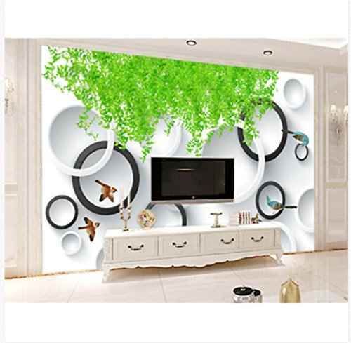 (3D Wallpaper Mural Silk Cloth Stickers Green Leaf Ring Wallpaper Mural Paper Wall Print Wallpaper)