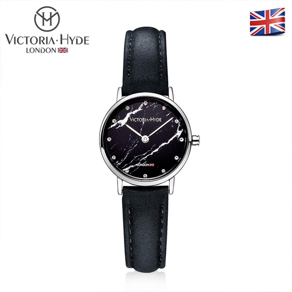 Victoria Hyde Women Wrist Watches with Marble Style Dial Small Sliver Alloy Case Leather Strap Black