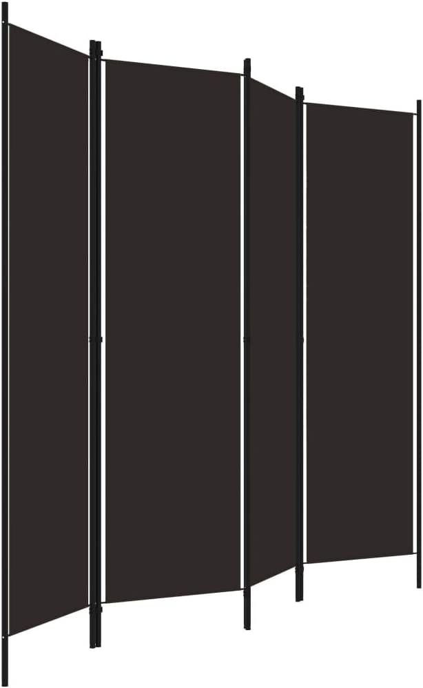 vidaXL 5-Panel Room Divider Folding Panel Screen Movable Partition Privacy Separator Wall Furniture Indoor Bedroom Office White 200x180 cm