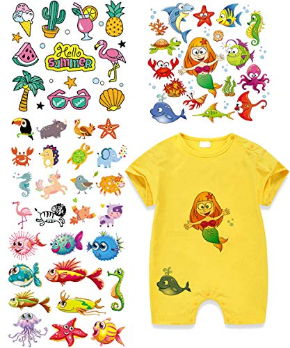 (Mermaid Iron On Patches Fish Heat Transfer Stickers with Colorful Animals Appliques Design Decoration A-Level Washable for T-Shirt Jeans Bags(4 Set) )