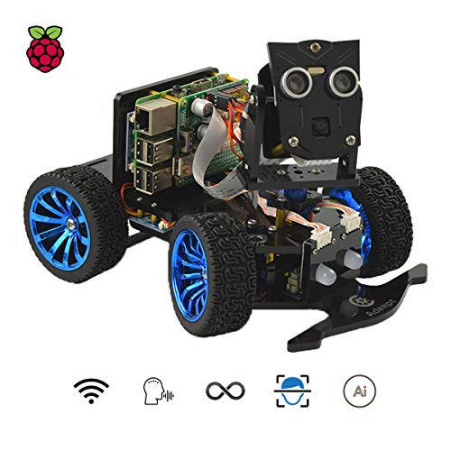 Adeept Mars Rover PiCar-B WiFi Smart Robot Car Kit for Raspberry Pi 3 Model B+/B/2B, Speech Recognition, OpenCV Target Tracking, Video Transmission, STEM Educational Robot with PDF Instructions (Car Remote Control Python)