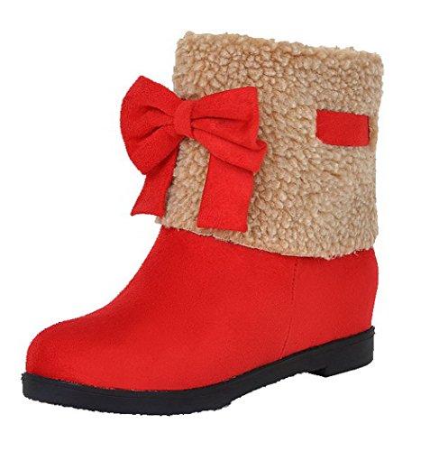 VogueZone009 Damen Mattglasbirne Ziehen auf Rund Zehe Niedriger Absatz Gemischte Farbe Stiefel, Rot, 35