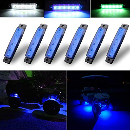 Well Cart - Botepon 6Pcs Led Rock Lights, Strip Lights, Wheel Well Lights, Led Underglow Kit for Golf Cart, Jeep Wrangler, RZR, Offroad, F150, F250, Snowmobile (Blue)