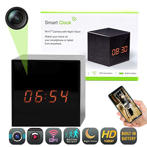 (Clock Hidden Camera - Wireless Spy Cam - Nanny Cam IP Surveillance Camera for Home Security Monitor Video Recorder HD 1080p - Night Vision - Speaker - Motion Detection - WiFi - 140° View Angle)