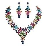 EVER FAITH Austrian Crystal Enamel Flower Cluster Drop Necklace Earrings Set Multicolor Gold-Tone