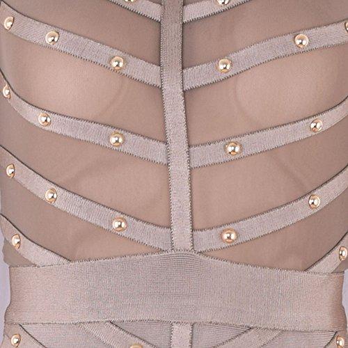 Beaded Sleeve Rayon Long HLBandage Bandage Knee Grigio Mesh Dress Length twfZgCq5