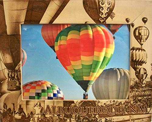 Albuquerque New Mexico with Balloons Laser Engraved Wood Picture Frame (5 x -