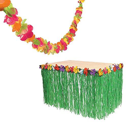 Fun Express 100ft Plastic Lei Garland 9 Ft Hibiscus Green Table Skirt Bundle Luau Set