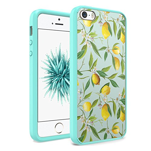 iPhone SE Case, iPhone 5s / iPhone 5 Case, Capsule-Case Hybrid Slim Hard Back Shield Case with Fused TPU Edge Bumper (Teal Green) for iPhone SE / iPhone 5s / iPhone 5 - (Summer Lemon)