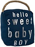 Pavilion Gift Company Open Door Decor - Hello Sweet Baby Boy Room Decor Navy Blue & Silver Door Stopper with Handle
