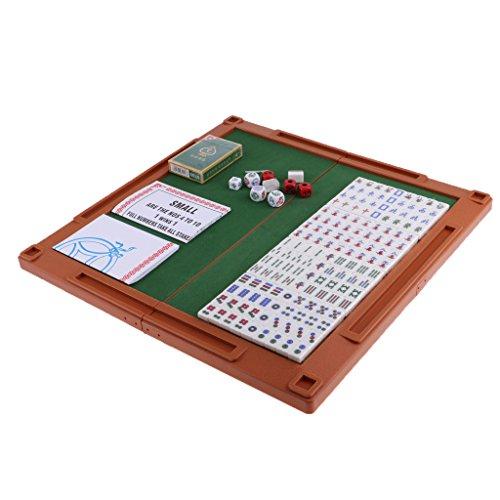 Perfeclan おもちゃ アクセサリー 中国麻雀 マージャン 旅行 ボードゲームセット ポータブル 麻雀ゲーム 2色選択 - 銀