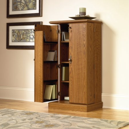Wood Media Storage Bookshelf Cabinet, Key Lock, Adjustable Shelves, Versatile Storage Options, Perfect For Living Room, Family Room, Office, Furniture, Oak Finish