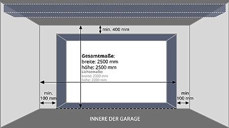 Puerta de garaje de 250 x 250 cm (medida de la luz 232 x 220 cm), color plateado: Amazon.es: Bricolaje y herramientas
