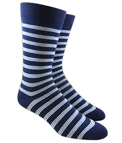 The Tie Bar Bar Stripes Navy Men's Cotton Blend Dress Socks